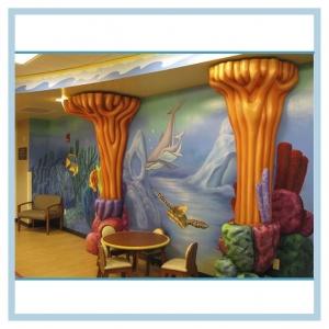 3D-coral-columns-hospital-mural-wall-art