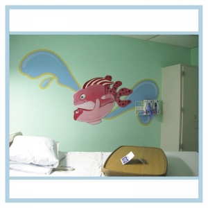decals-stickers-for-hospital-wallsl-healthcare-design-fish-art-crabs-coral-patient-room-decorations-underwater-colorful-tropical-pink