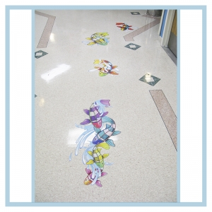 floor-decals-stickers-fish-splashes-hospital-art-healthcare-design-wayfinding