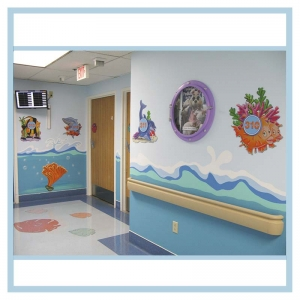 hospital-hallway-art-porthole-frame-with-print-3d-fish-room-markers-waves