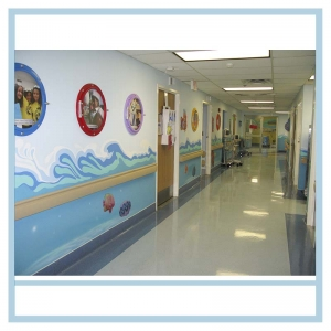 hospital-hallway-art-porthole-frames-with-pictures-of-staff-healthcare-design-waves-3d-fish