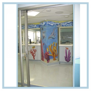 pacu-hospital-art-dolphines-wall-mural-healthcare-design-3d-fish