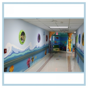 pediatric-entrance-3d-coral-fish-wall-art-porthole-frames-hospital-hallway-art-healthcare-design
