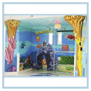 pediatric-entrance-mural-3d-fish-healthcare-art-hospital-design