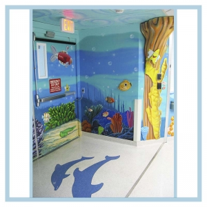 pediatric-entrance-murals-on-walls-healthcare-design-hospital-art-3d-fish-coral-columns