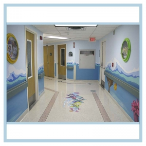 porthole-frame-wall-art-waves-in-hallway-healthcare-design-hospital-floor-decals-stickers