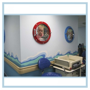 porthole-frames-waves-on-wall-hospital-art-healthcare-design