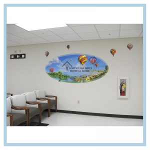 3d-oval-mural-military-hospital-design-heathcare-art-hot-air-balloon-decals