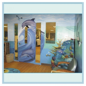 dolphins-mural-nautical-coral-furniture-hospital-art