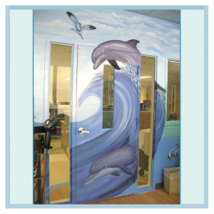 dolphins-painted-on-door-hospital-mural