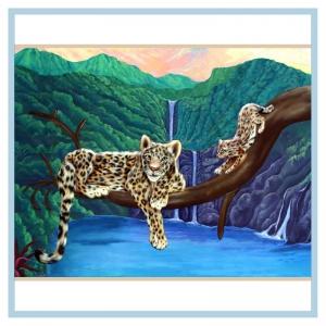 leopard-rainforest-mural-pediatric-parent-lounge-hospital-art-healthcare-design