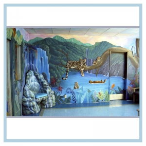 leopard-waterfall-chair-mural-with-mountains-rainforest-otters-hospital-art-healthcare-design