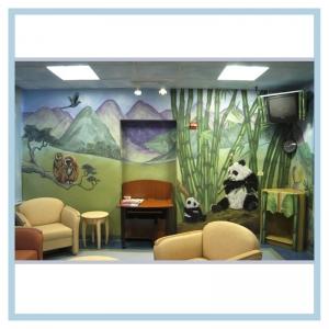 monkeys-and-pandas-rainforest-mural-3d-art-hospital-mural