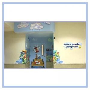 cancer-unit-3d-art-in-entranceway-welcome-sign-hospital-art-healthcare-design