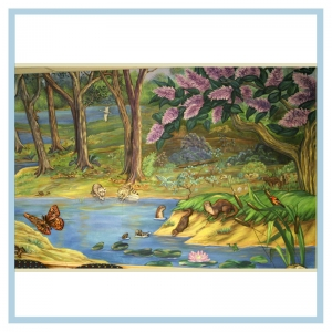 3d-mural-healthcare-art-otters,butterflies-design-for-hospital