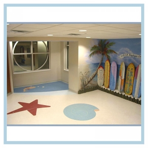 tropical-theme-surfboards-on-beach-hospital-art-healthcare-design