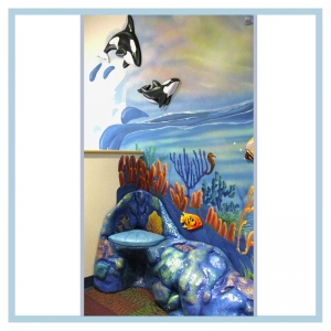 3d-fish-murals-clinic-art-underwater-theme-healthcare-design-underwater-theme-orcas-rainbow-childrens-playroom-coral-bench