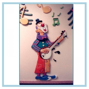 clown-playing-banjo-cancer-care-unit-hospital-design-wall-art