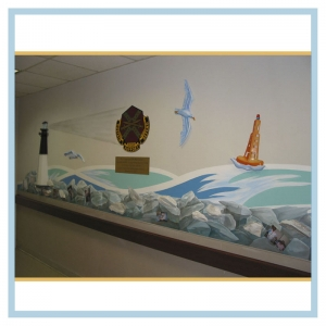 lighthouse-rocks-waves-hospital-design-healthcare-art-tropcial-nautical-theme-military-crest-boy-murals
