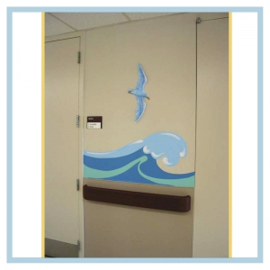tropical-theme-waves-down-hallway-3d-bird-healthcare-design-hospital-childrens-areas-art-doctors-office