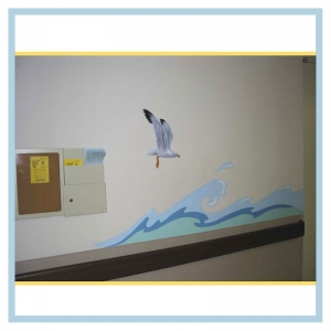 tropical-theme-waves-down-hallway-3d-bird-healthcare-design-hospital-childrens-areas-art
