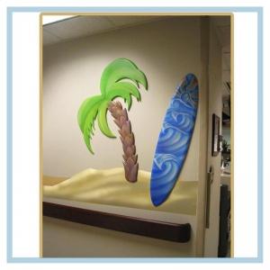 3d-palm-tree-surfboard-beach-theme-nautical-artwork-healthcare-design-hospital-art