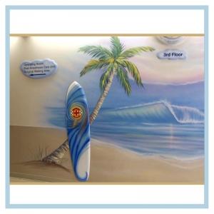 palm-tree-3d-surfboard-wave-mural-hospital-art-healthcare-design