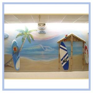 surfboards-beach-theme-parrot-palm-tree-hospital-art-icu-custom-design