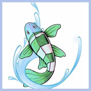 green fish floor decal