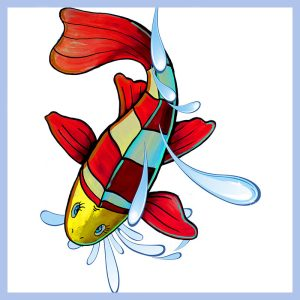 red fish floor decal