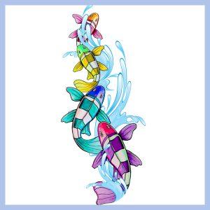rainbow swimmers floor decal