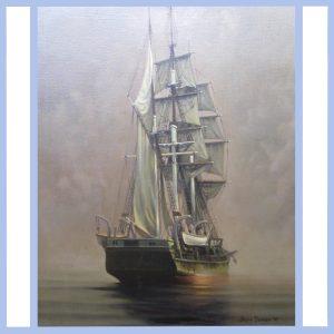 ship at dawn